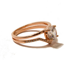 4-claw Rose Gold Ringset